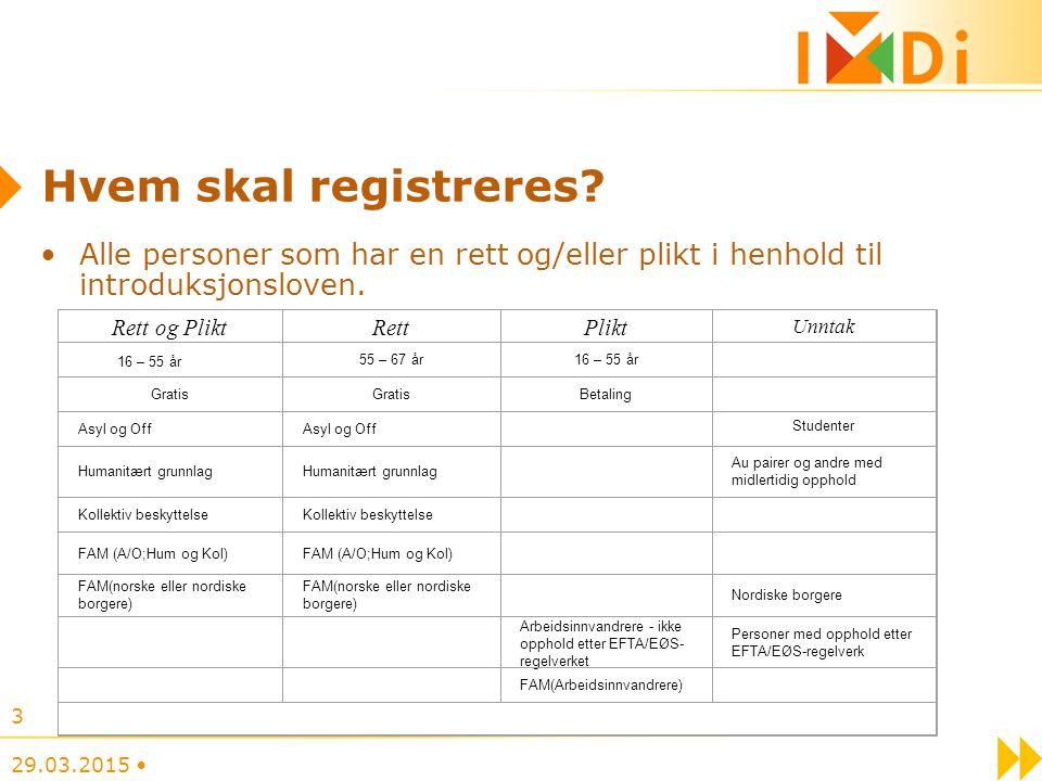 Hvem skal registreres Alle personer som har en rett og/eller plikt i henhold til introduksjonsloven.