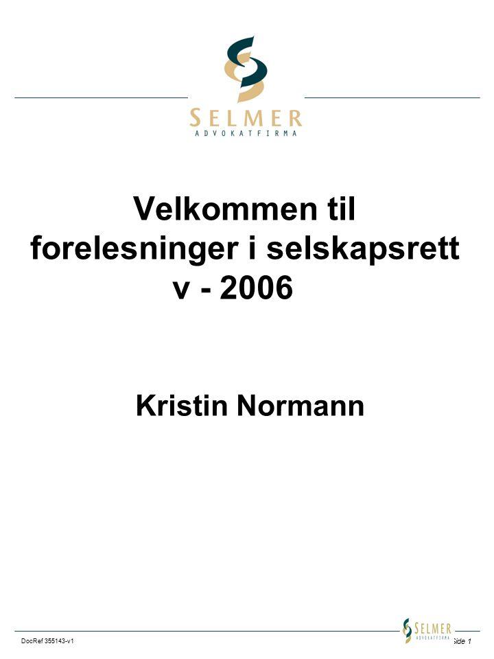 Velkommen til forelesninger i selskapsrett v - 2006