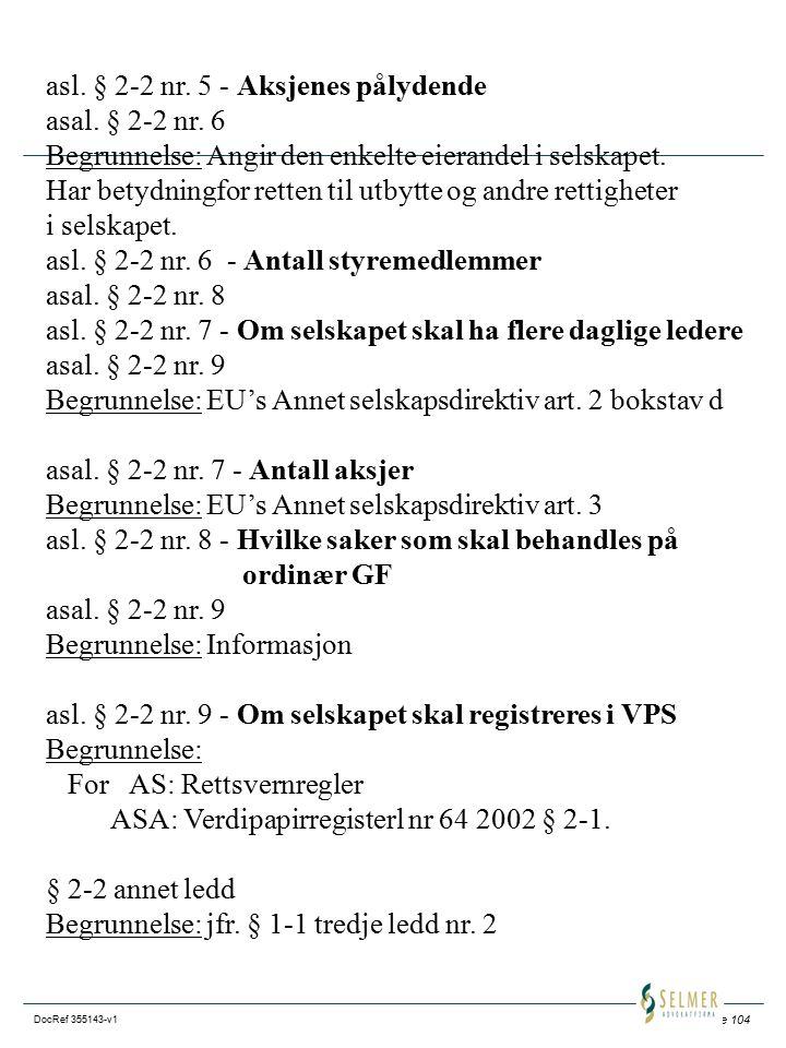asl. § 2-2 nr. 5 - Aksjenes pålydende