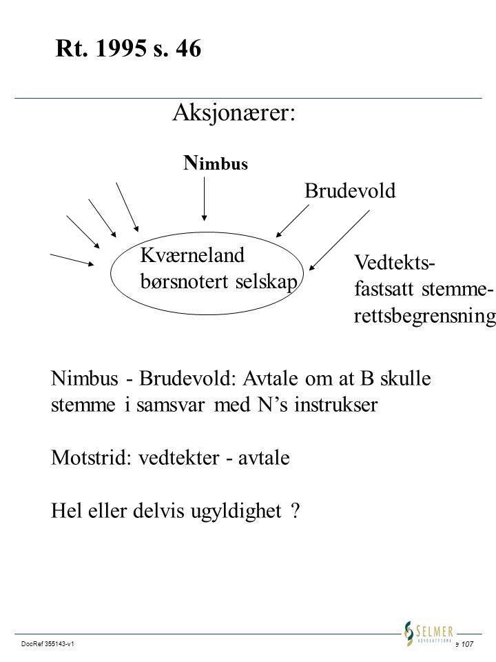Rt. 1995 s. 46 Aksjonærer: Nimbus Brudevold Kværneland Vedtekts-