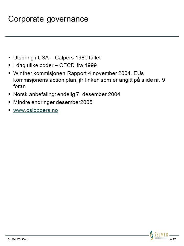 Corporate governance Utspring i USA – Calpers 1980 tallet