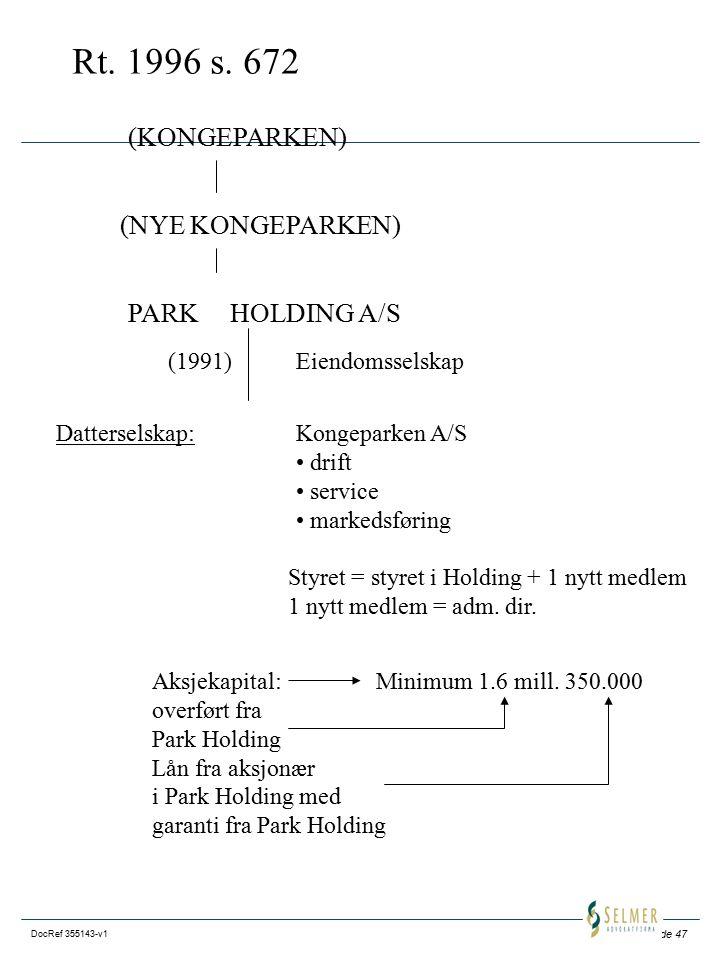 Rt. 1996 s. 672 (KONGEPARKEN) (NYE KONGEPARKEN) PARK HOLDING A/S