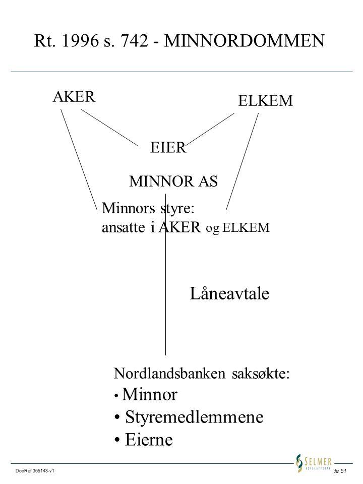 Rt. 1996 s. 742 - MINNORDOMMEN Låneavtale Styremedlemmene Eierne AKER