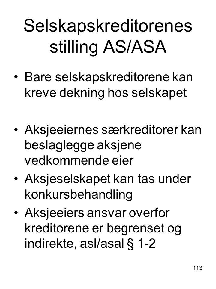Selskapskreditorenes stilling AS/ASA