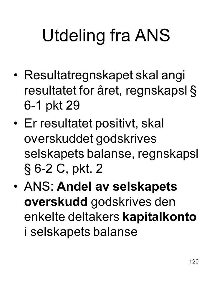 Utdeling fra ANS Resultatregnskapet skal angi resultatet for året, regnskapsl § 6-1 pkt 29.