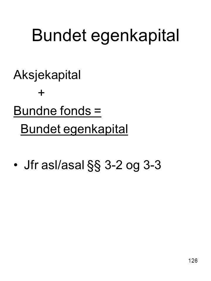 Bundet egenkapital Aksjekapital + Bundne fonds = Bundet egenkapital