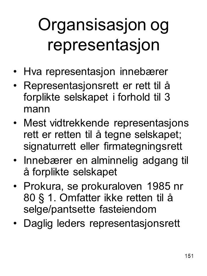 Organsisasjon og representasjon