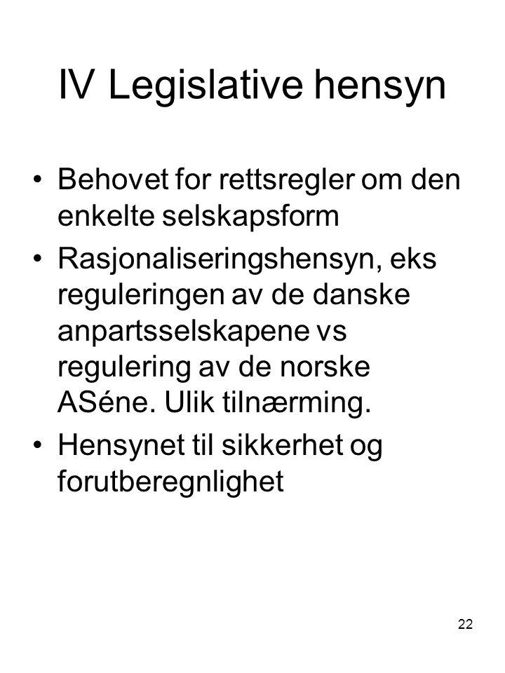 IV Legislative hensyn Behovet for rettsregler om den enkelte selskapsform.