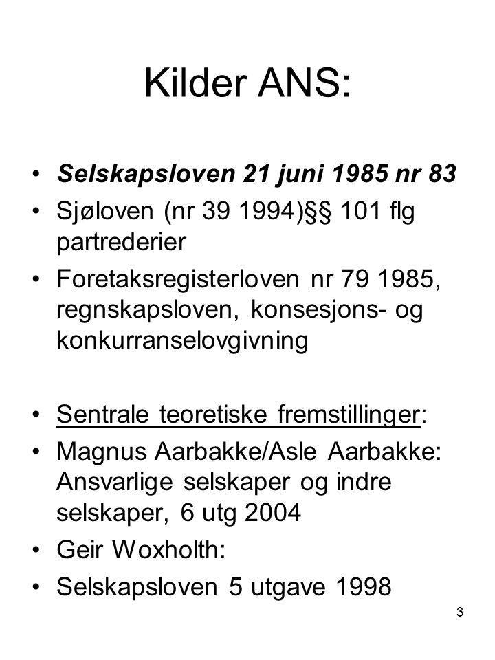 Kilder ANS: Selskapsloven 21 juni 1985 nr 83