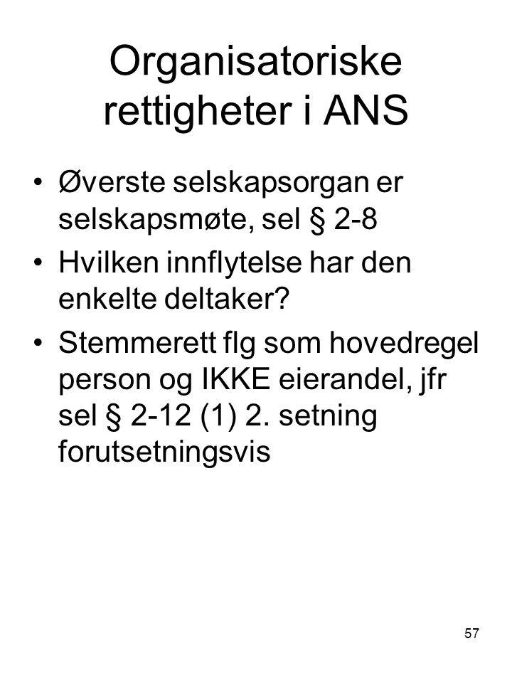 Organisatoriske rettigheter i ANS