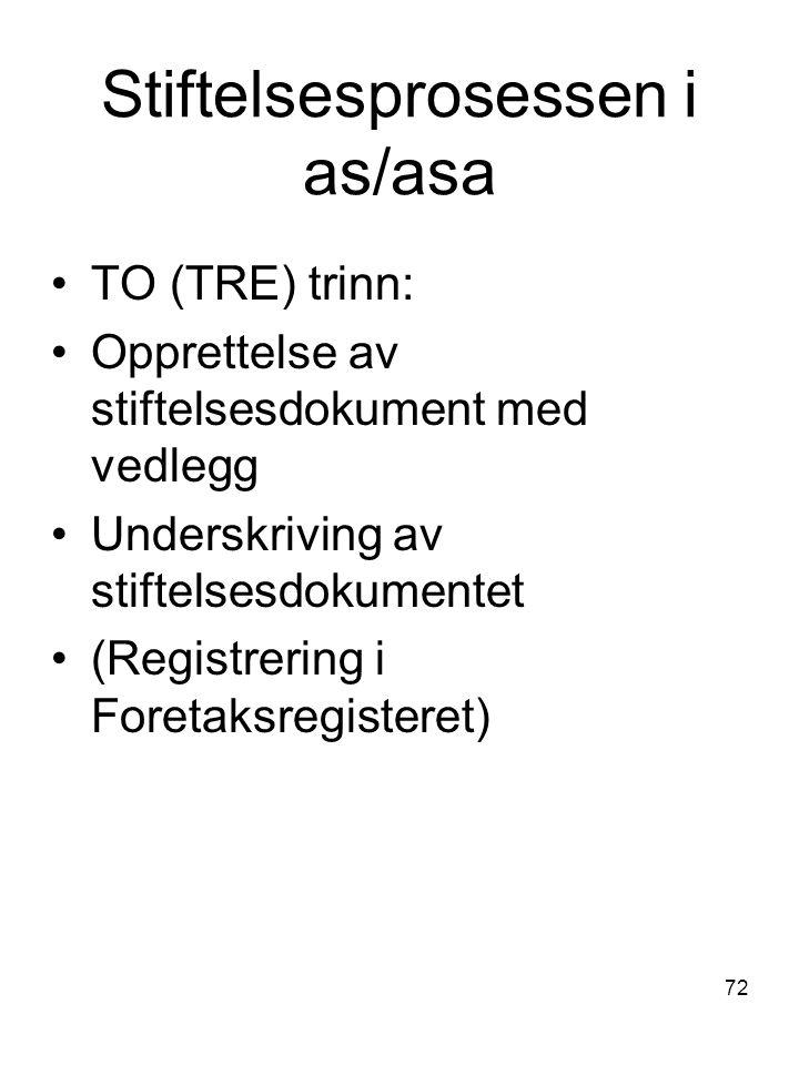 Stiftelsesprosessen i as/asa