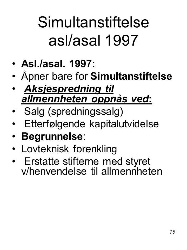 Simultanstiftelse asl/asal 1997