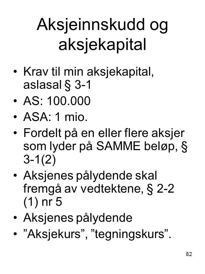 Aksjeinnskudd og aksjekapital