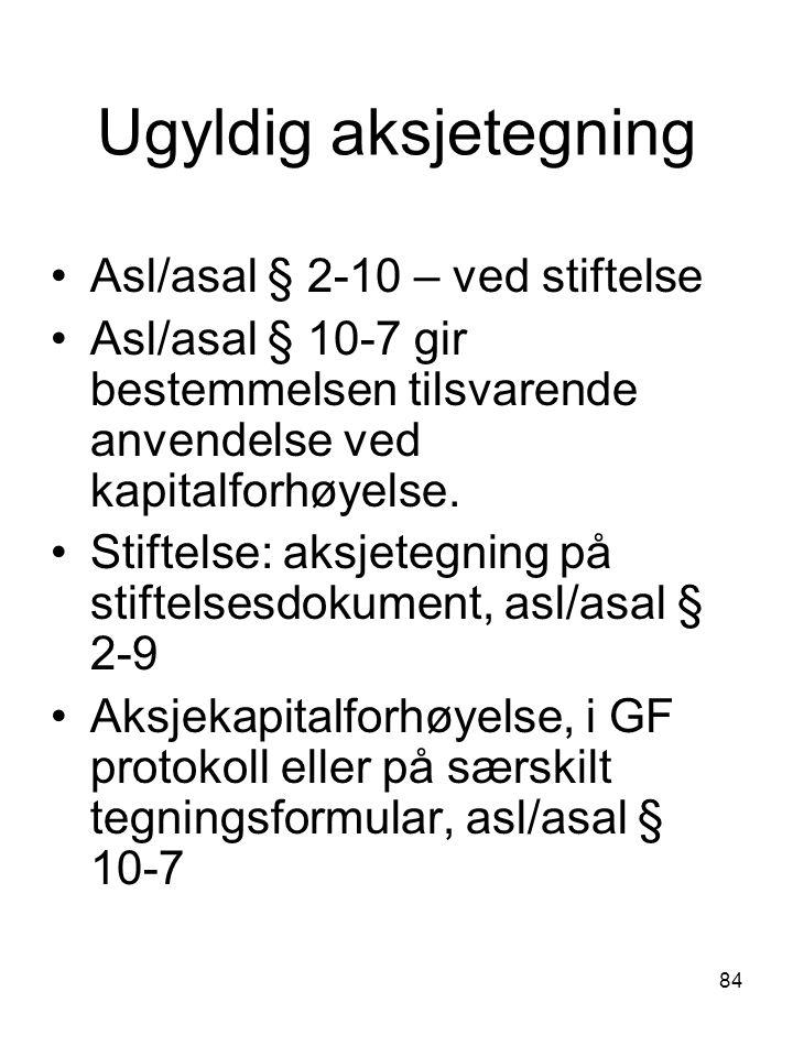 Ugyldig aksjetegning Asl/asal § 2-10 – ved stiftelse