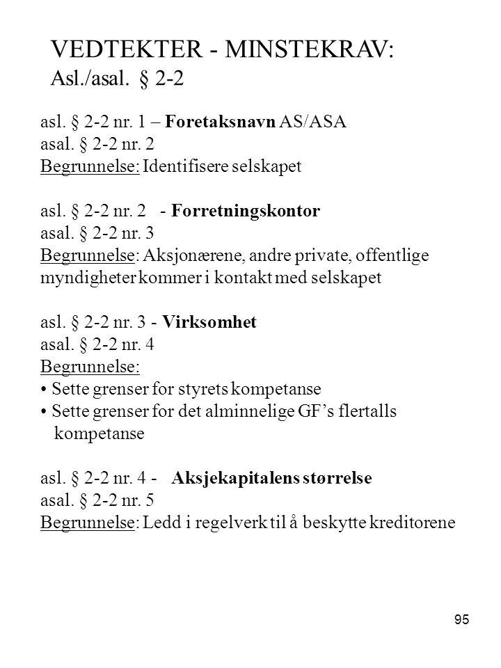VEDTEKTER - MINSTEKRAV:
