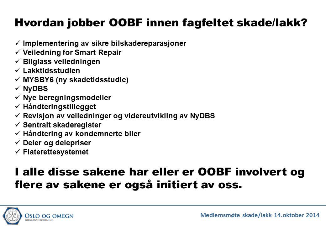 Hvordan jobber OOBF innen fagfeltet skade/lakk