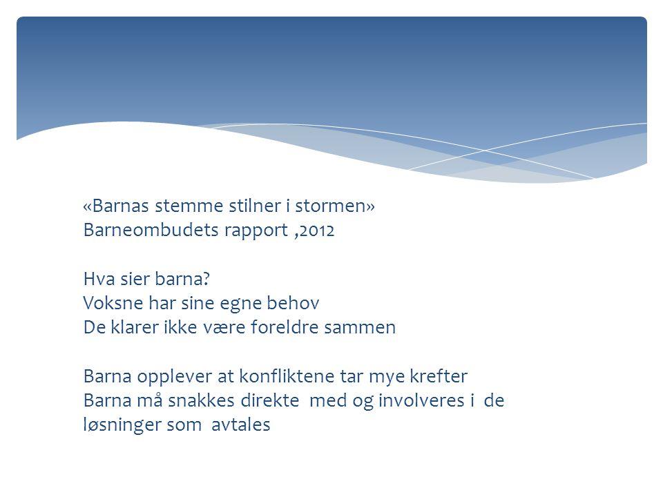 «Barnas stemme stilner i stormen» Barneombudets rapport ,2012 Hva sier barna.