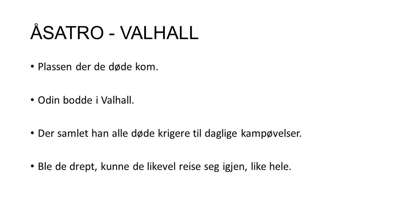 ÅSATRO - VALHALL Plassen der de døde kom. Odin bodde i Valhall.