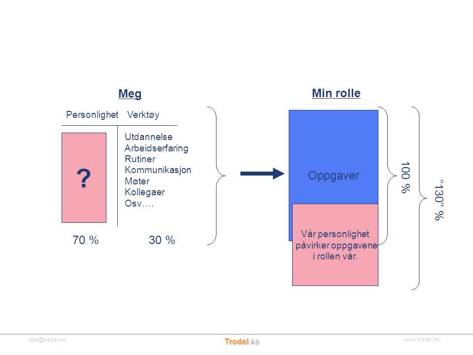Meg Min rolle Oppgaver 100 % 130 % 70 % 30 % Personlighet Verktøy