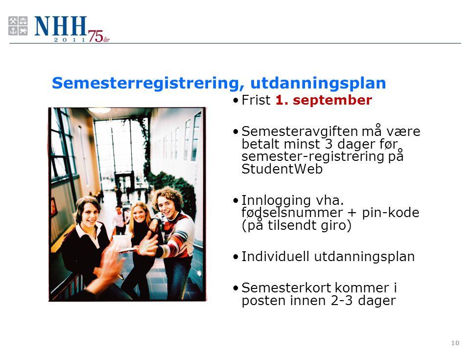 Semesterregistrering, utdanningsplan