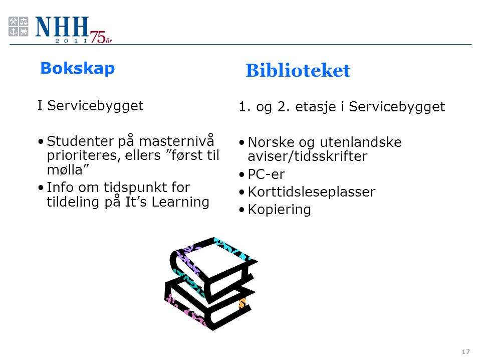 Biblioteket Bokskap I Servicebygget 1. og 2. etasje i Servicebygget