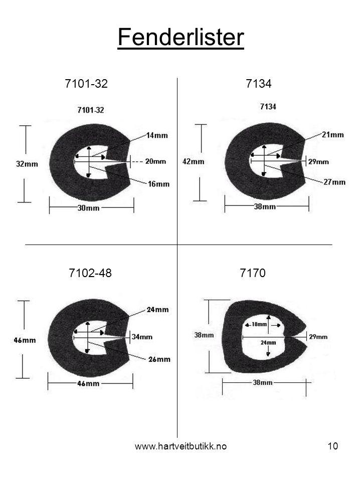 Fenderlister 7101-32 7134. 7102-48 7170.