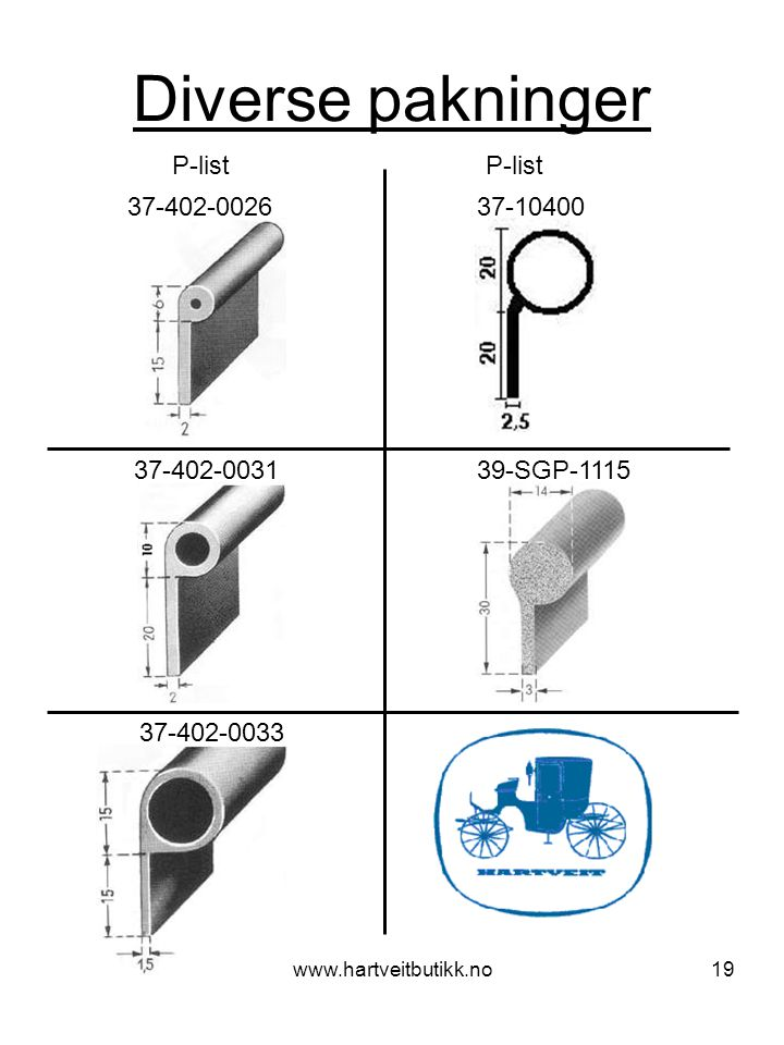 Diverse pakninger P-list P-list 37-402-0026 37-10400