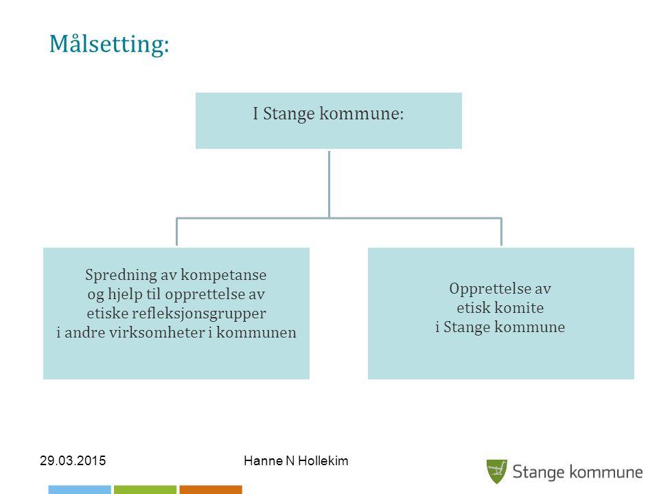 Målsetting: I Stange kommune: Spredning av kompetanse