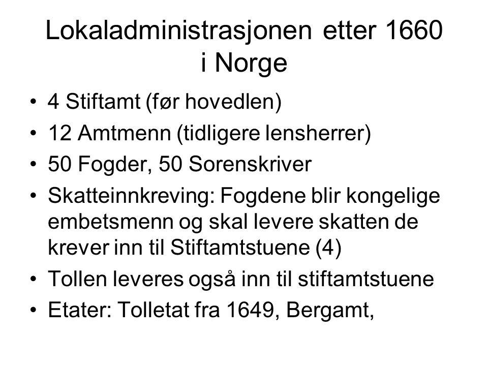 Lokaladministrasjonen etter 1660 i Norge