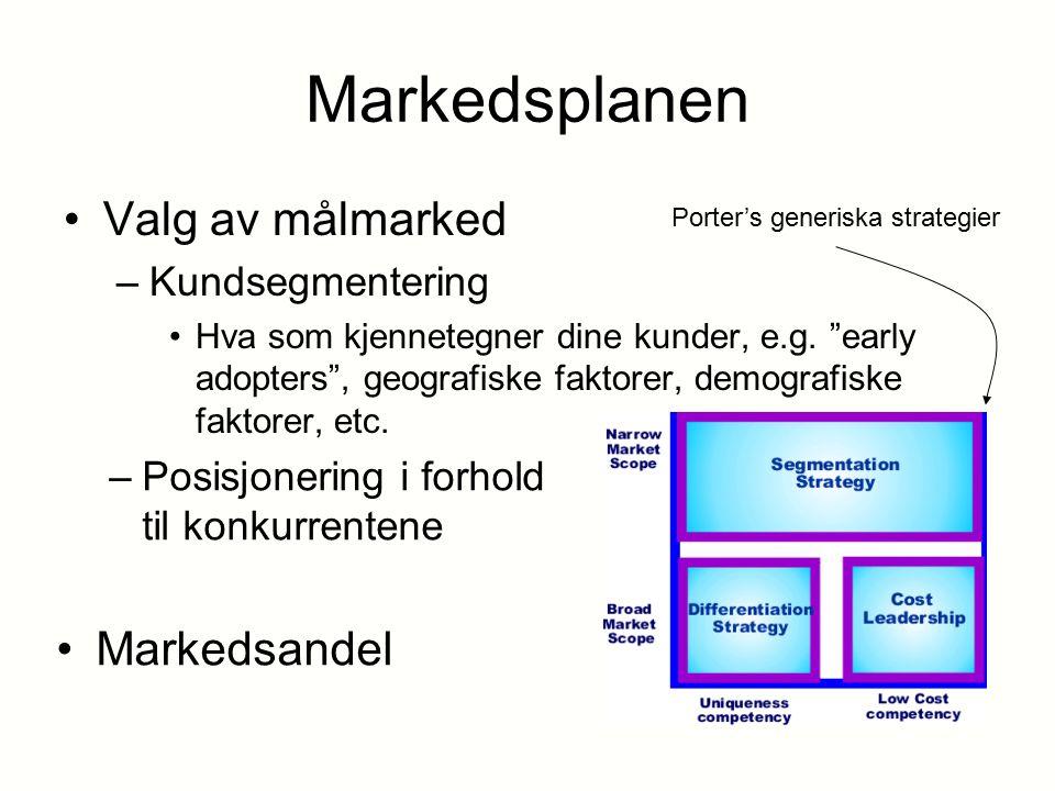 Markedsplanen Valg av målmarked Markedsandel Kundsegmentering
