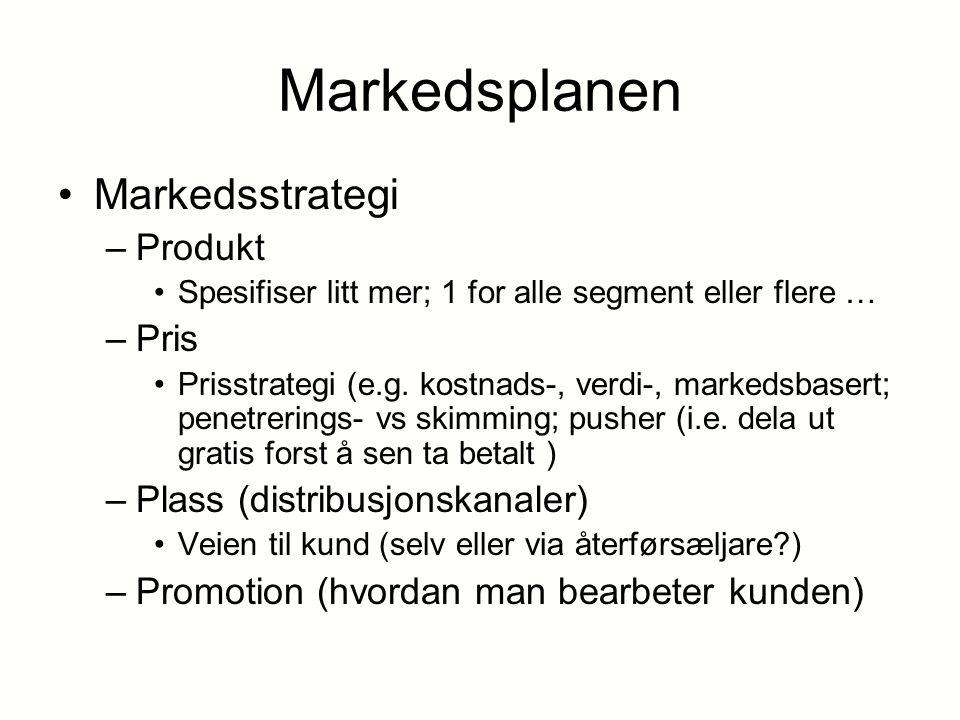 Markedsplanen Markedsstrategi Produkt Pris