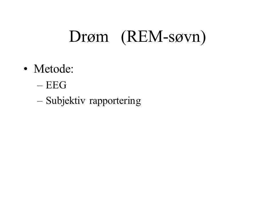 Drøm (REM-søvn) Metode: EEG Subjektiv rapportering