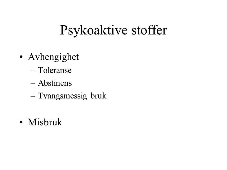 Psykoaktive stoffer Avhengighet Misbruk Toleranse Abstinens