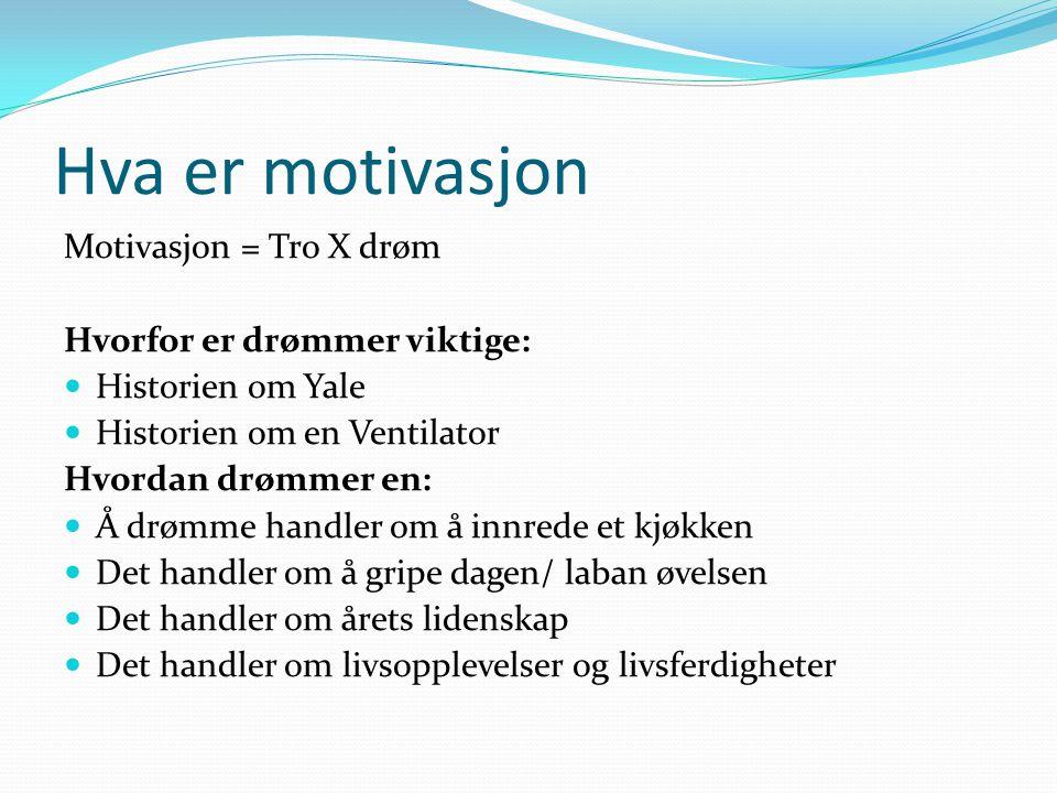 Hva er motivasjon Motivasjon = Tro X drøm Hvorfor er drømmer viktige: