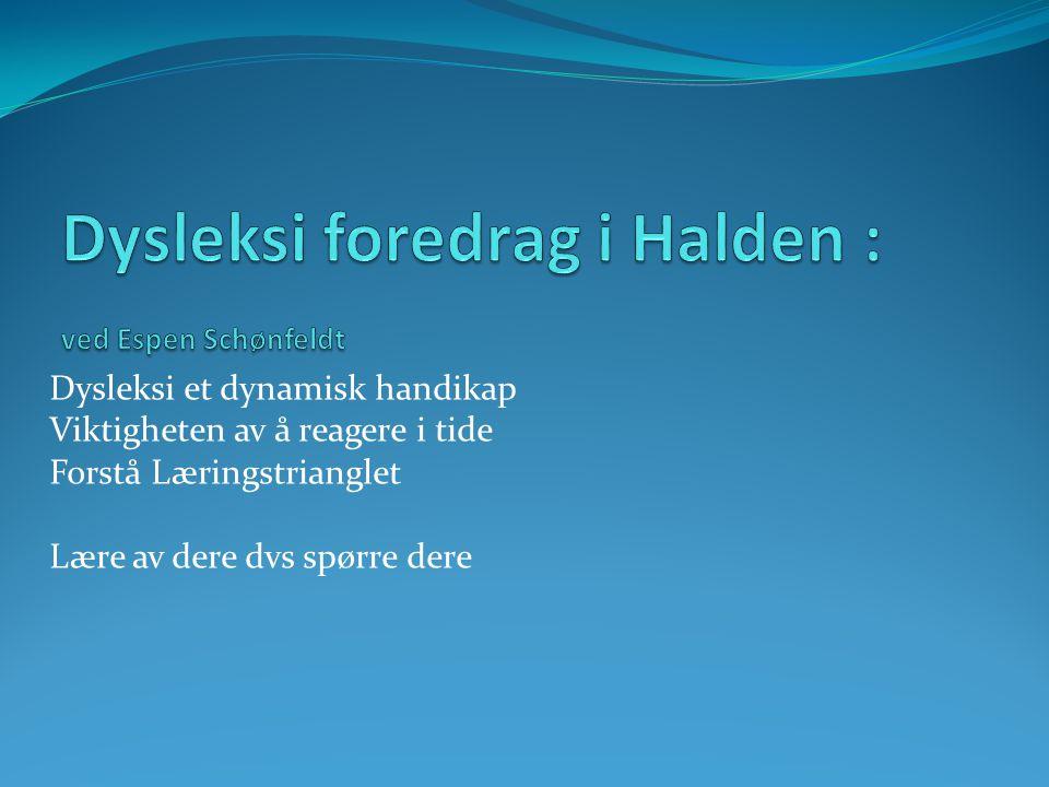 Dysleksi foredrag i Halden : ved Espen Schønfeldt