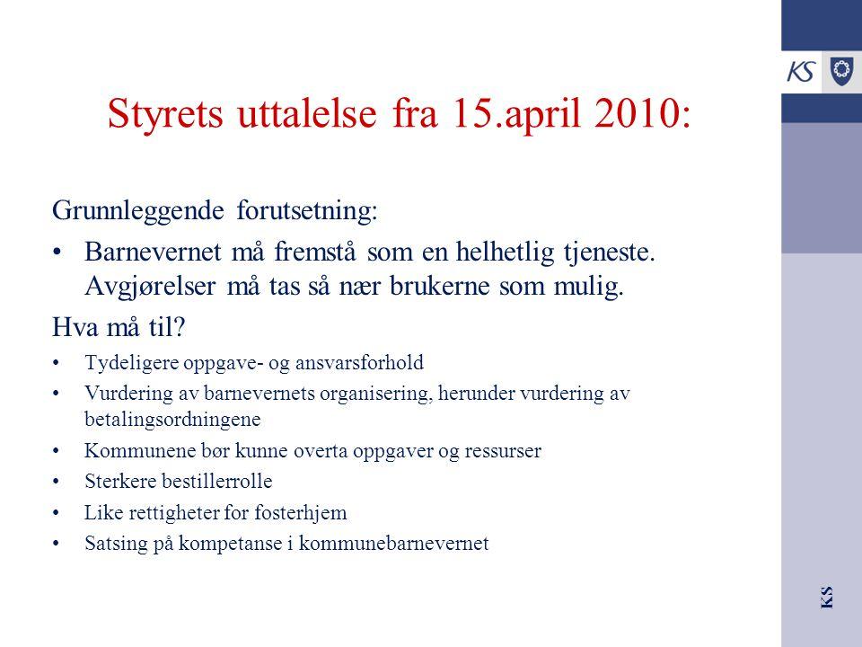 Styrets uttalelse fra 15.april 2010: