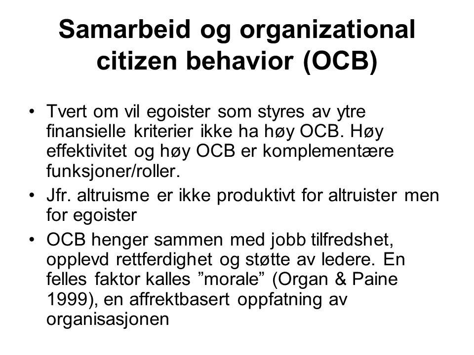 Samarbeid og organizational citizen behavior (OCB)
