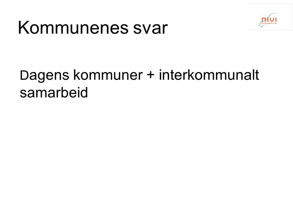 Kommunenes svar Dagens kommuner + interkommunalt samarbeid