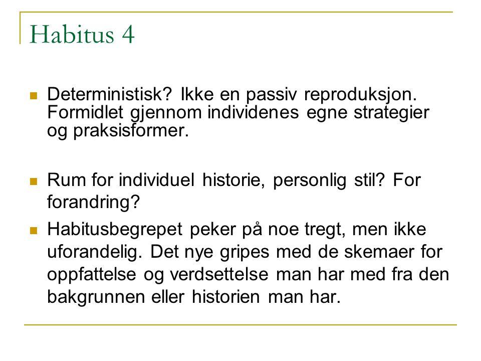 Habitus 4 Deterministisk Ikke en passiv reproduksjon. Formidlet gjennom individenes egne strategier og praksisformer.