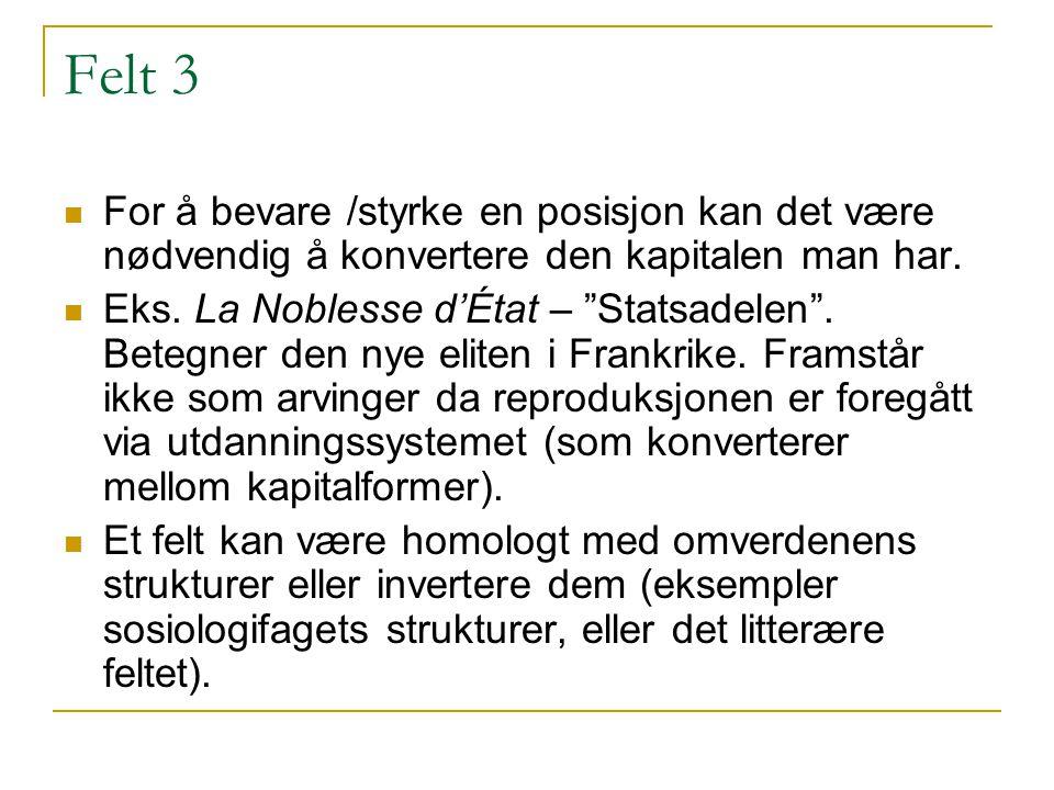 Felt 3 For å bevare /styrke en posisjon kan det være nødvendig å konvertere den kapitalen man har.