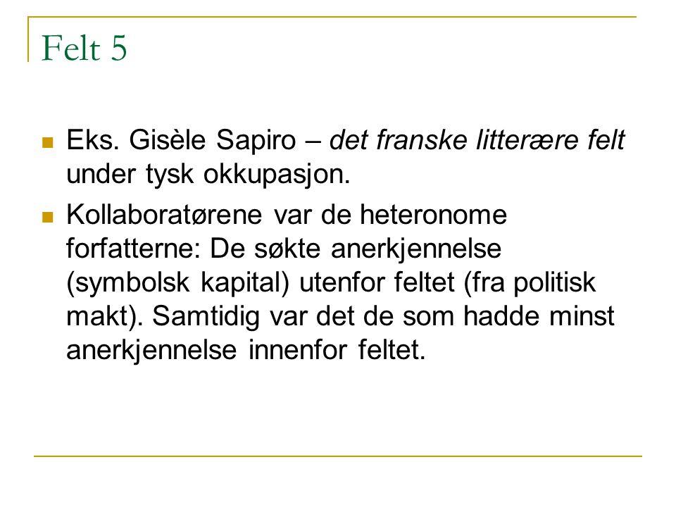 Felt 5 Eks. Gisèle Sapiro – det franske litterære felt under tysk okkupasjon.