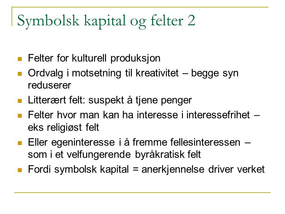 Symbolsk kapital og felter 2