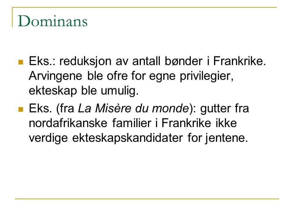 Dominans Eks.: reduksjon av antall bønder i Frankrike. Arvingene ble ofre for egne privilegier, ekteskap ble umulig.