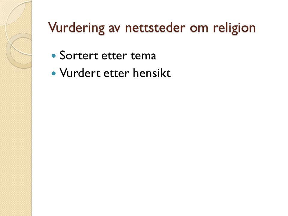 Vurdering av nettsteder om religion