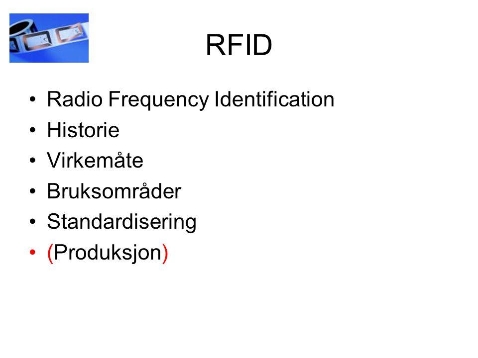 RFID Radio Frequency Identification Historie Virkemåte Bruksområder