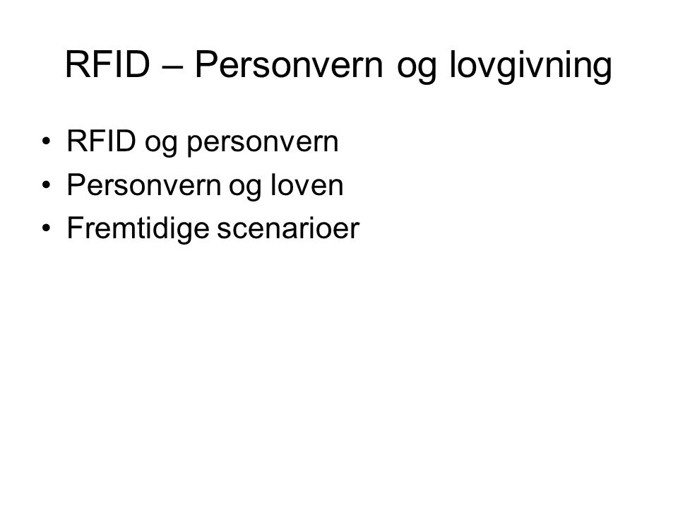 RFID – Personvern og lovgivning