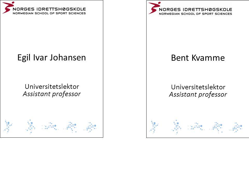 Egil Ivar Johansen Bent Kvamme Universitetslektor Universitetslektor