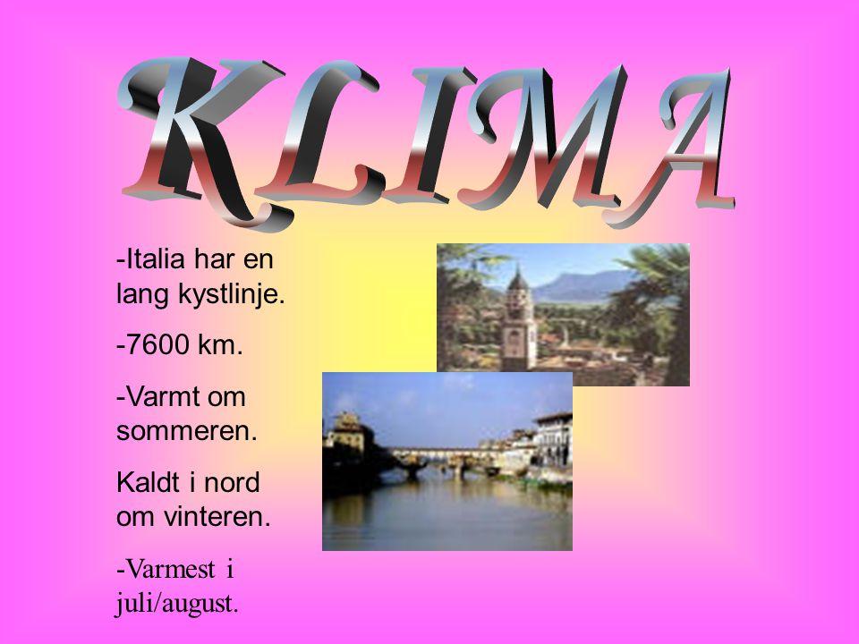 KLIMA -Italia har en lang kystlinje. -7600 km. -Varmt om sommeren.