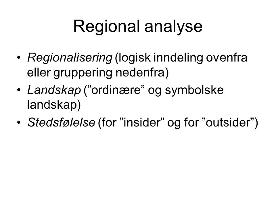 Regional analyse Regionalisering (logisk inndeling ovenfra eller gruppering nedenfra) Landskap ( ordinære og symbolske landskap)
