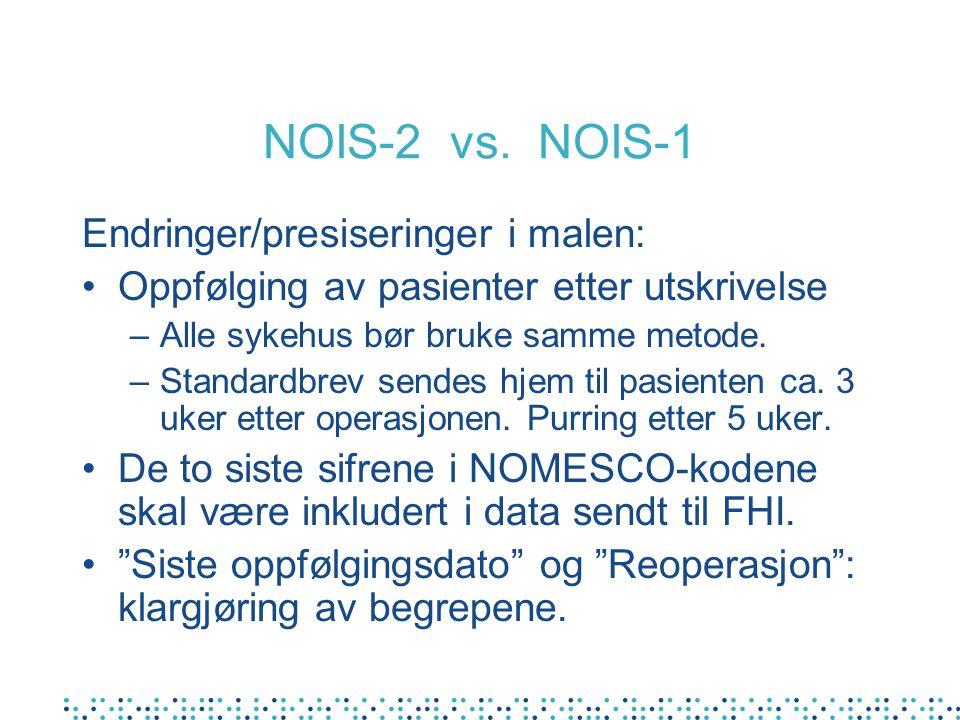 NOIS-2 vs. NOIS-1 Endringer/presiseringer i malen: